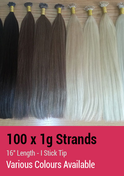"100 x 1g Strands - 16"" Length - I Stick Tip - Indian Remy Hair Extensions"
