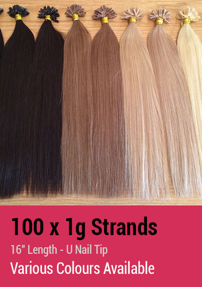 "100 x 1g Strands - 16"" Length - U Nail Tip - Indian Remy Hair Extensions"