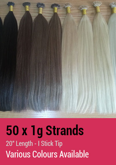 "50 x 1g Strands - 20"" Length - I Stick Tip - Indian Remy Hair Extensions"