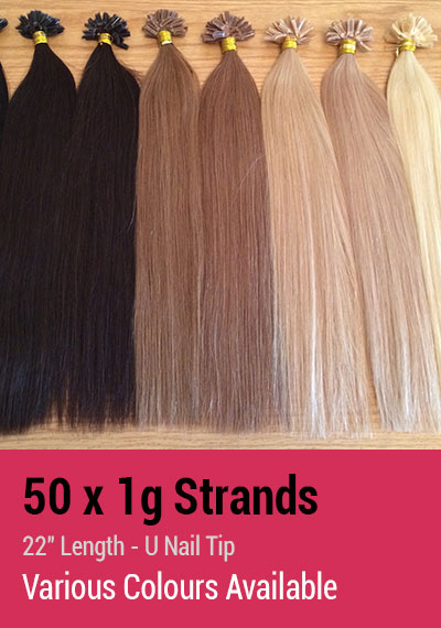 "50 x 1g Strands - 22"" Length - U Nail Tip - Indian Remy Hair Extensions"